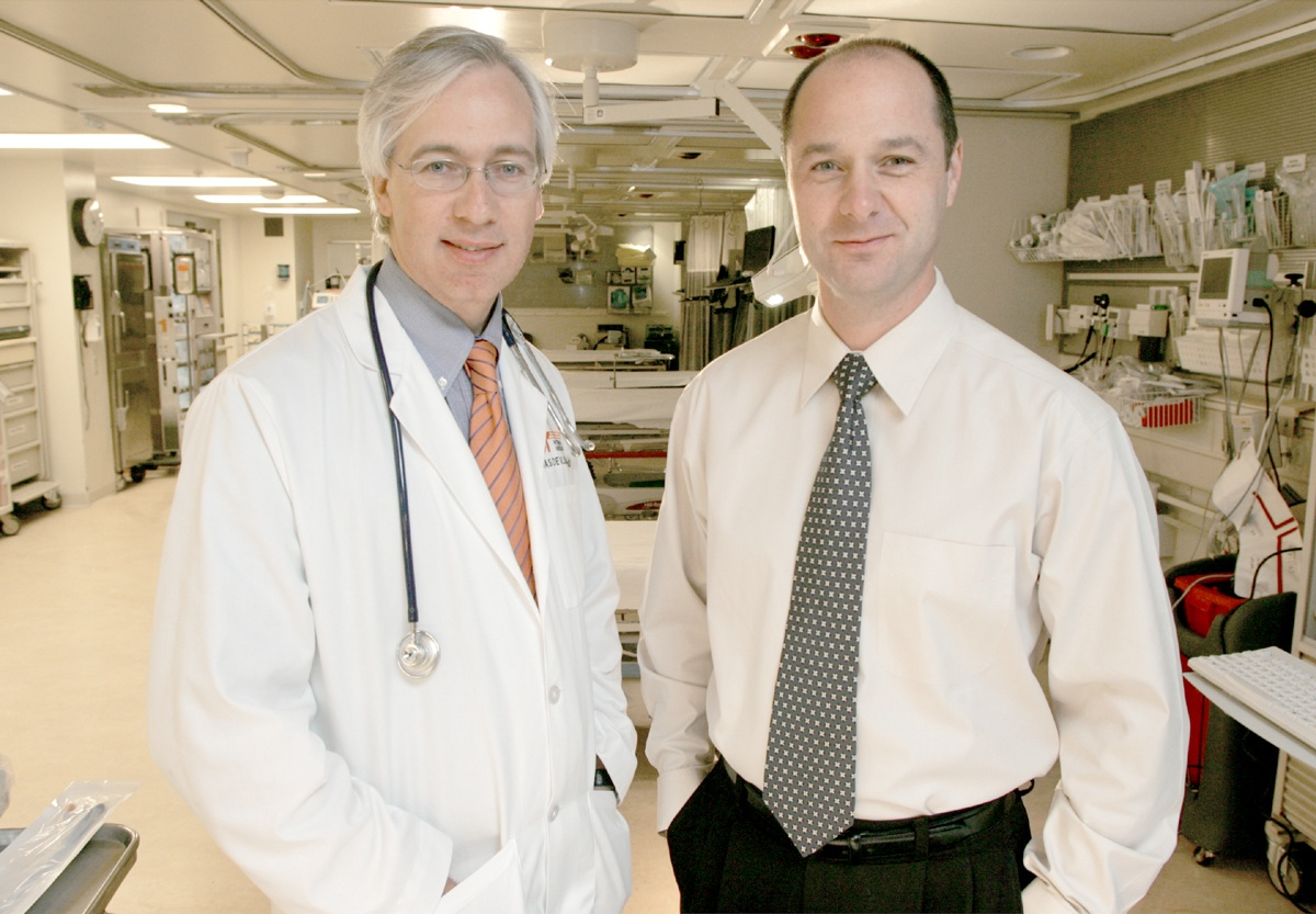 Dr. Tom Devlin, left,  Medical Director, with Dr. Blaise Baxter, Chief of Interventional Radiology, of the Erlanger Southeast Regional Stroke Center.