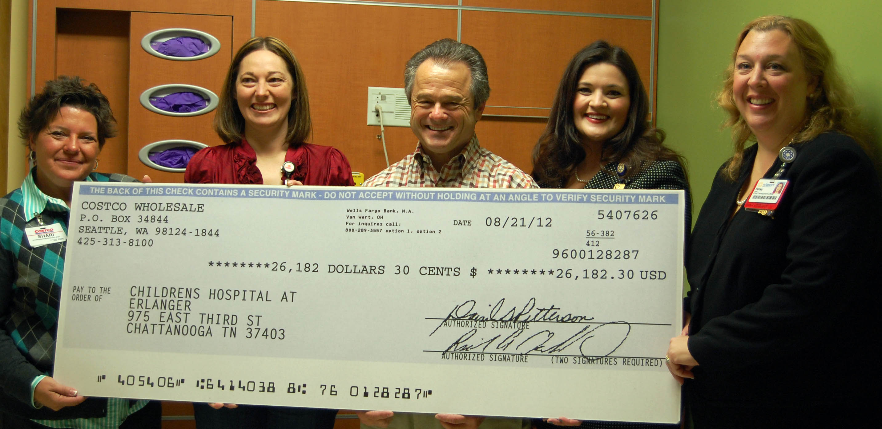 Costco representatives Shari Wolfs, Julie Brown and Bob Palermo along with Rebecca Brinkley, Children's Miracle Network Coordinator for Children's Hospital and Betsy Taylor, President of Erlanger Health System Foundations