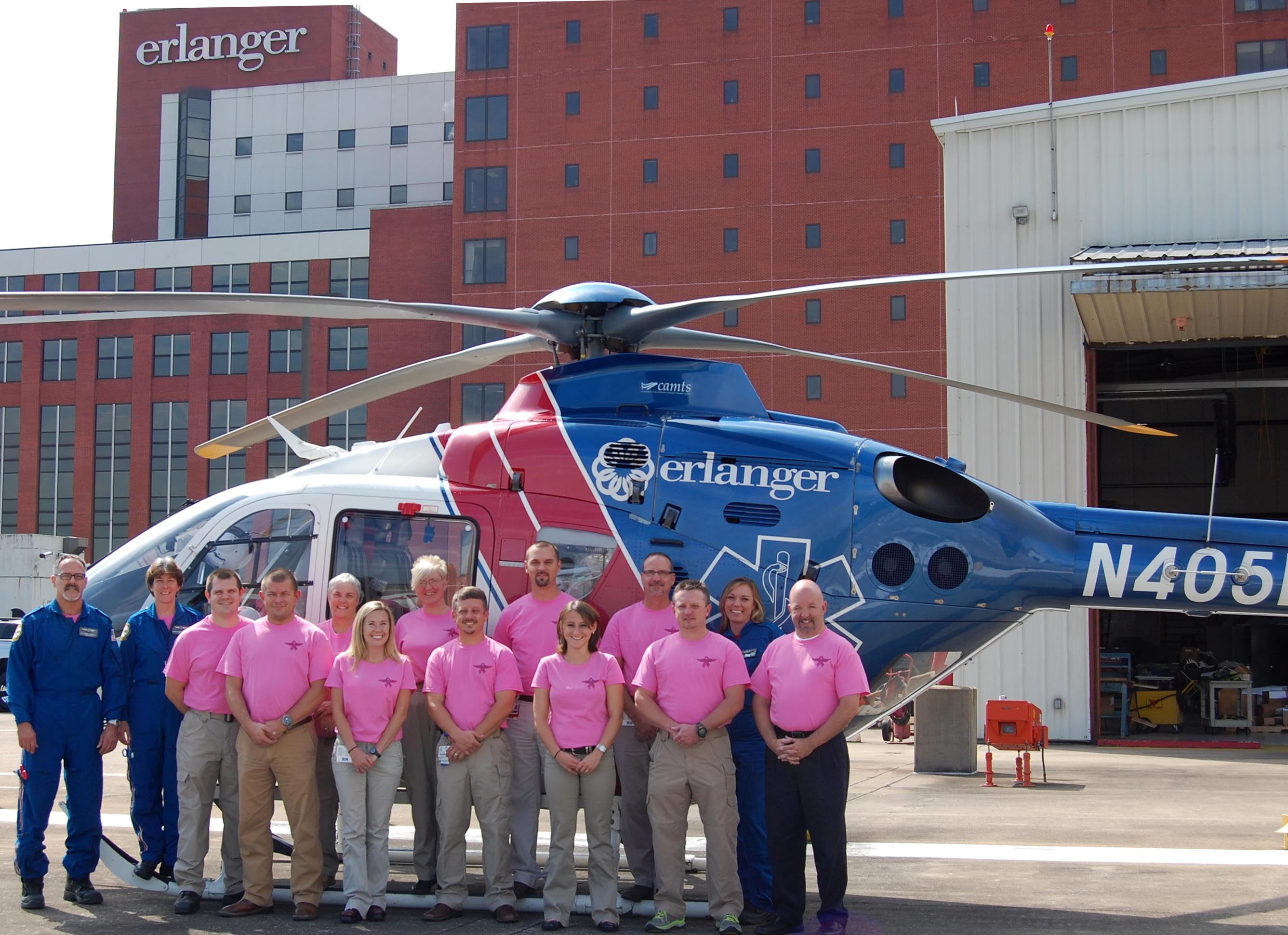 Erlanger's LIFE FORCE crew goes pink for Breast Cancer Awareness Month